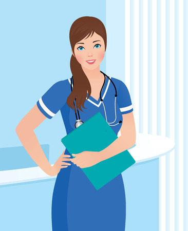 professional practice: Female nurse or doctor in uniform in the workplace