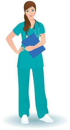 female portrait: Young nurse or doctor with stethoscope in a full length