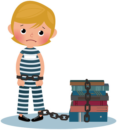 shackled: Illustration chain shackled boy dressed as a prisoner