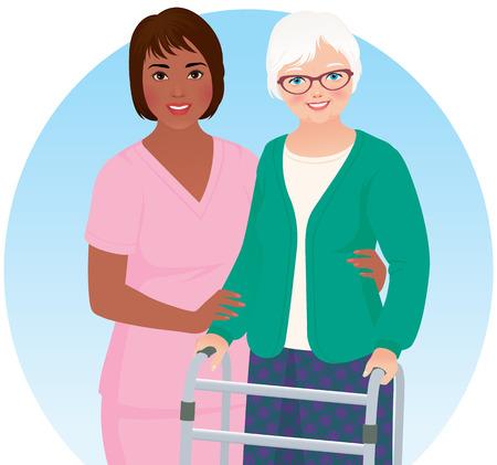 African American verpleegkundige helpt haar oudere patiënt Stock Illustratie