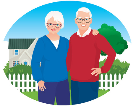 Elderly husband and wife are each other\'s arms on the background of your own home Vectores