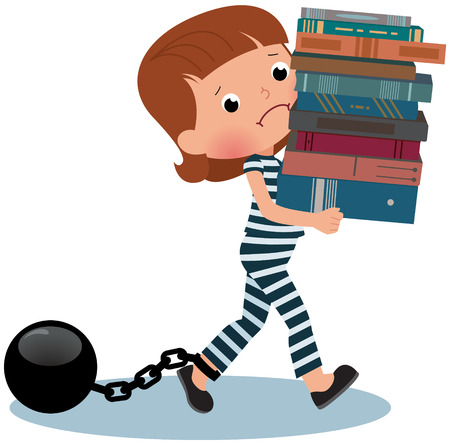 burden: A girl student of clothing prisoner carries a stack of books
