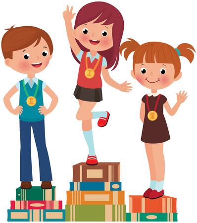 primer lugar: Los niños son los mejores estudiantes en un pedestal de libros