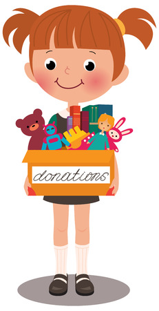 Illustration of child holding a toy box for donations