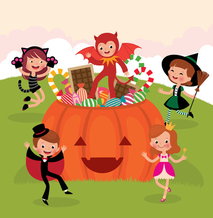 Children having fun at the Halloween party in costumes monsters Vector