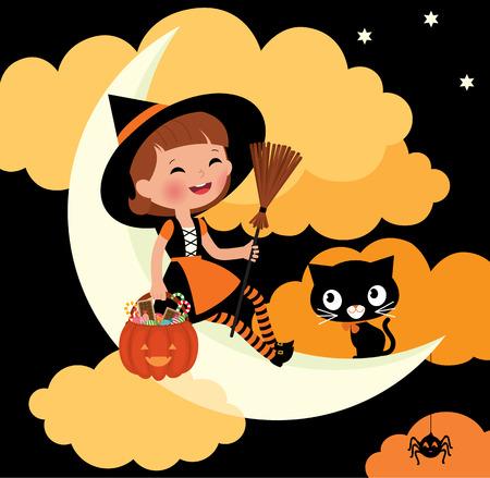 brujas caricatura: Chica en traje de bruja en la noche de Halloween
