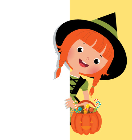 halloween costume: Illustration of funny Halloween witch holding a white banner Illustration