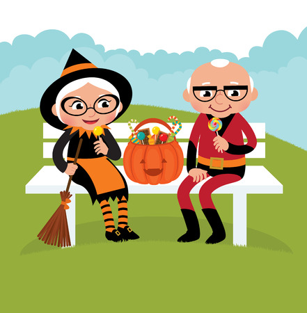 Grandparents dressed in festive costumes celebrate Halloween Vector