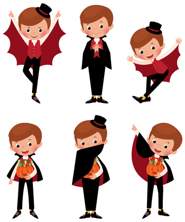 cartoon vampire: Stock illustration set of different poses of a boy in costume a vampire for Halloween