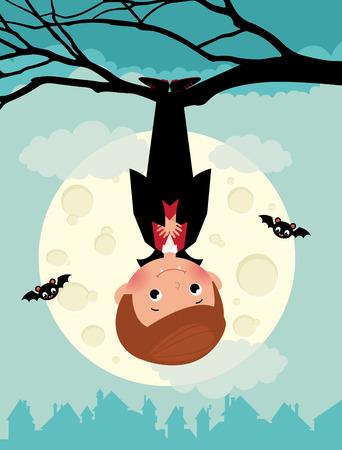 할로윈 밤에 귀여운 뱀파이어의 그림
