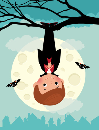 cartoon vampire: Illustration of cute vampire on Halloween night
