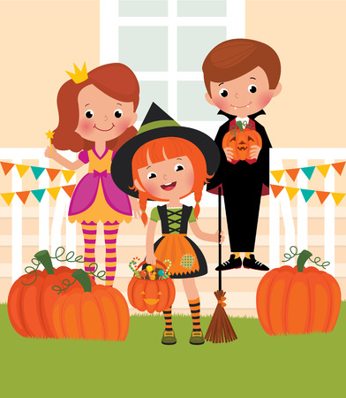 doorstep: Children at the doorstep dressed as monsters Halloween Illustration