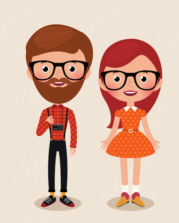 Couple of cartoon hipster girl and guy Stock Illustratie