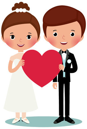 Illustration of bride and groom on a white background are holding heart
