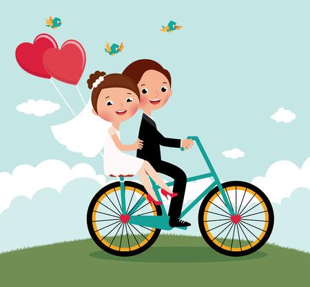 Jonggehuwden op een fiets rijden op een huwelijksreis Stock Illustratie
