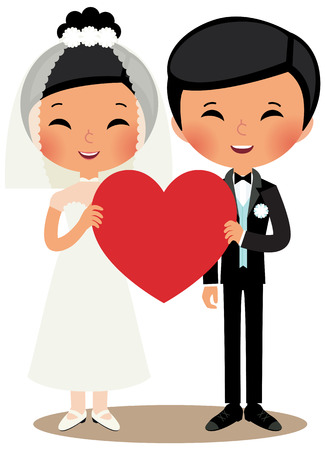 chinese dress: Young Chinese couple married in full length on white background Illustration