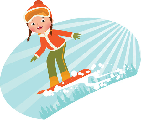 Girl snowboarder sliding down the mountain on a snowboard Illustration