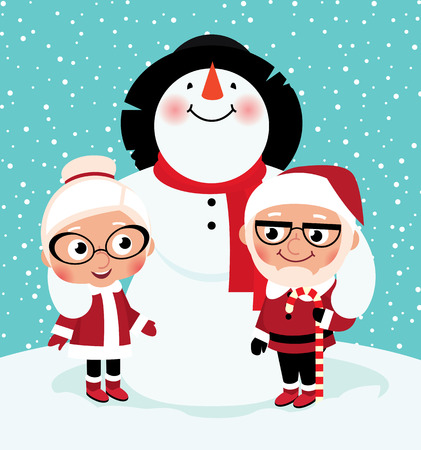 mrs claus: Husband and wife Santa Claus with his friend snowman Illustration