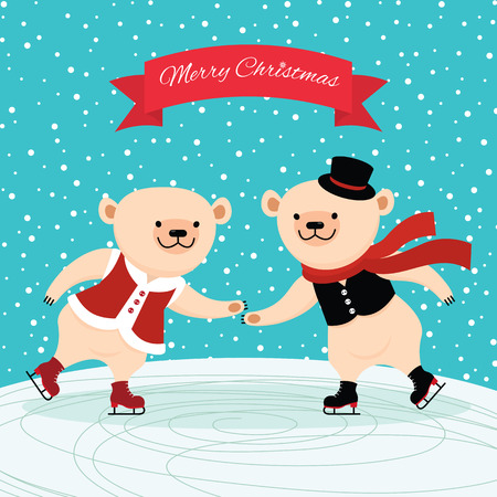 polar bear on the ice: Illustration of a couple polar bear on ice skates