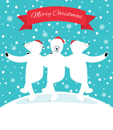 Three polar bears dancing fun embracing