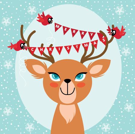 Birds hang Christmas lights on the horns of a deer Vector