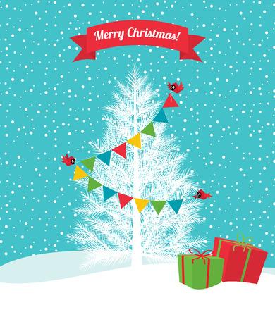 Birds decorate the Christmas tree Christmas garland Vector