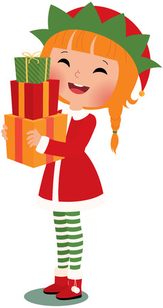 clasping: Christmas elf with christmas gifts on a white background Illustration