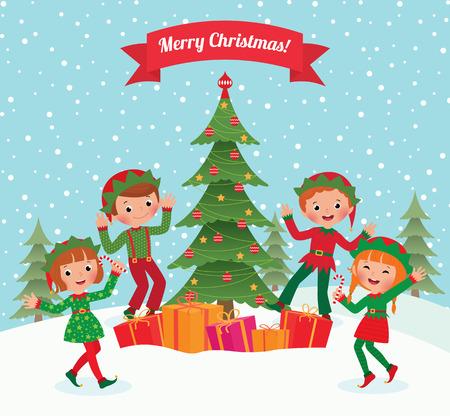 Cartoon elves having fun at Christmas party