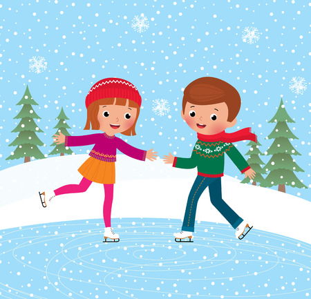 two person: Illustration of kids having fun in the winter skating rink