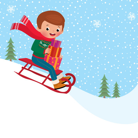 A child rides a toboggan down holding Christmas gifts Vector