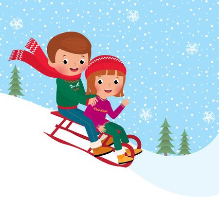 Illustration of boy and girl children sledding together Vector