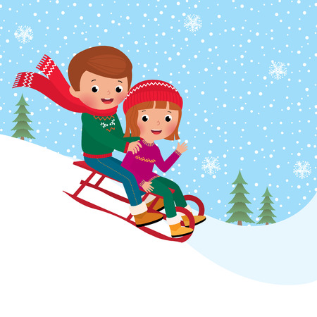 sledge: Illustration of boy and girl children sledding together Illustration