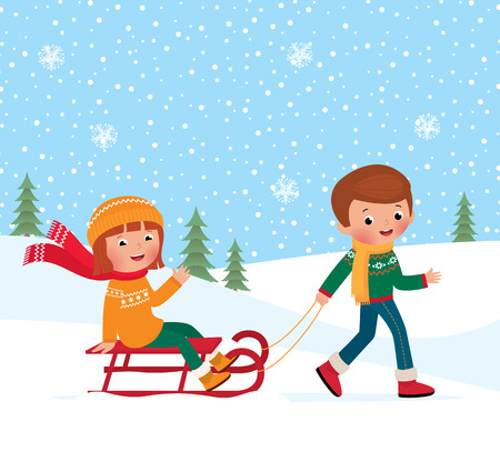 Illustration of a boy and girl sledding in winter Vector