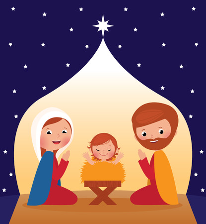 Nativity Scene Mary, Joseph and baby Jesus Vector