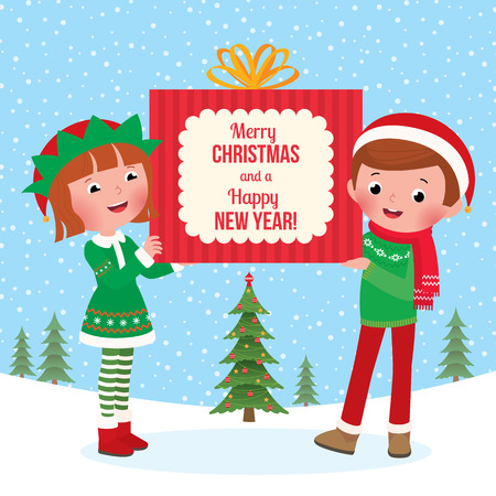 Boy and girl in christmas elf costumes and Santa Claus wishes Merry Christmas Vector