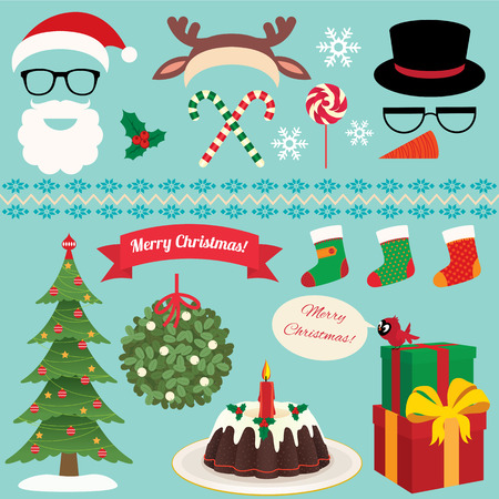 Set of design elements on the subject of Christmas and a New Year Vector