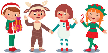 design costume: Children in Christmas costume characters celebrate Christmas