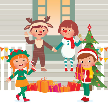 Children stand in front of the house in Christmas costume characters Vector