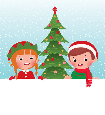 peeping: Children in Christmas Costumes elves and Santa Claus peeping from behind placard Illustration
