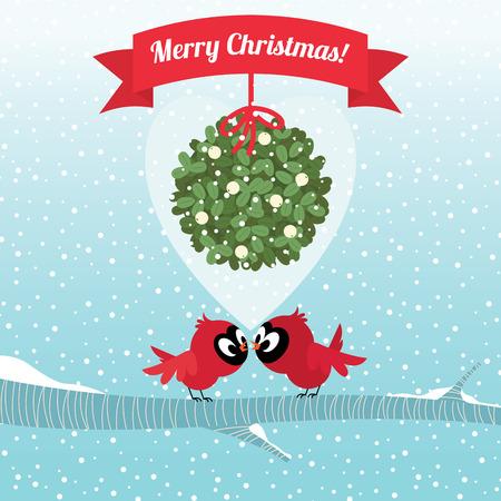 muerdago: Ilustraci�n del vector Stock P�jaros cardinales bes�ndose bajo la rama de mu�rdago de Navidad Vectores
