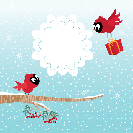 sweet couple: Stock illustration of two birds in the winter forest celebrate Christmas or Valentine Day Illustration