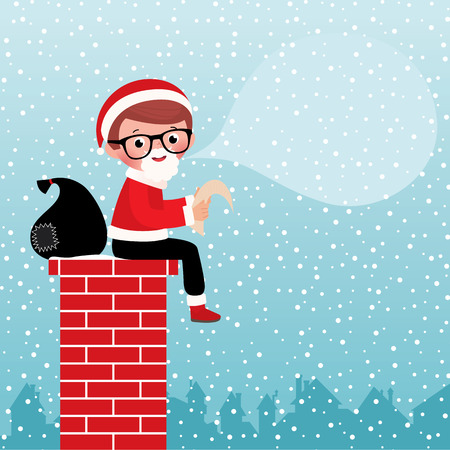 ard: Stock vector illustration of a cute Santa Claus sitting on a chimney with a bag of gifts