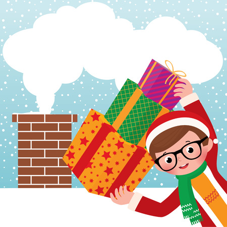 ard: Stock vector illustration of a young Santa Claus and Christmas gifts on the background of the roof and chimney