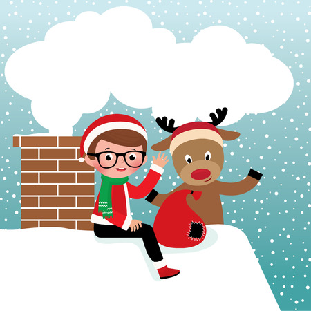 ard: Stock vector illustration of Santa Claus and reindeer on the roof