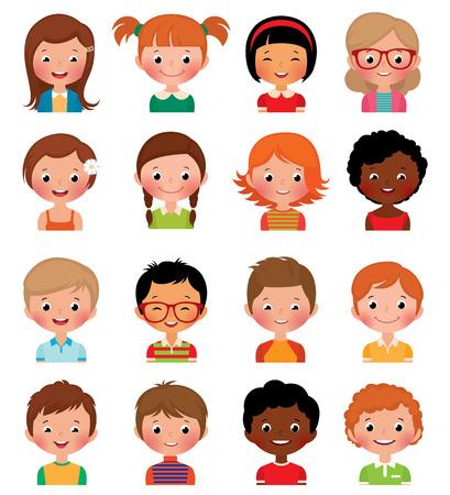 男の子と女の子の白い背景の異なるアバターのベクトル イラスト セット