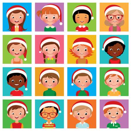 cartoon boys: Vector illustration set of different avatars of boys and girls in the Santa hat