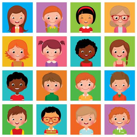 Vector illustratie set van verschillende avatars van jongens en meisjes op een op een vierkante platte Stock Illustratie