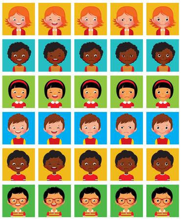 caras de emociones: Conjunto de cara de dibujos animados con diferentes emociones