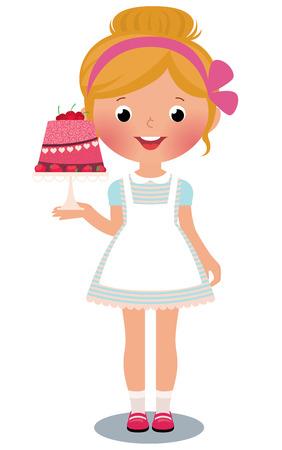 cartoon birthday cake: Stock vector illustration of a girl with birthday cake