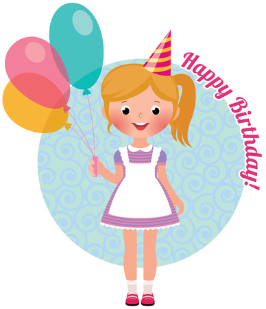 Stock vector illustration of a girl with air balloons celebrating birthday